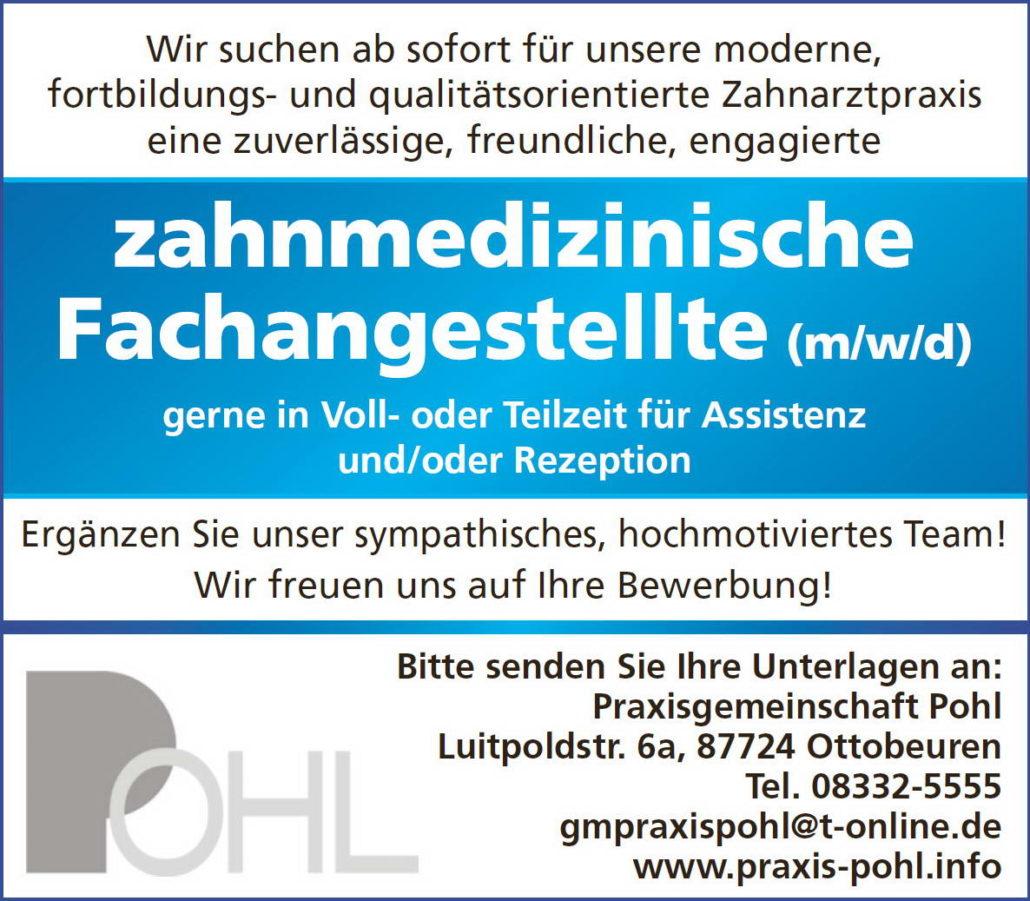 Stellenanzeige ZFA Zahnmedizinische Fachahngestelefonisch